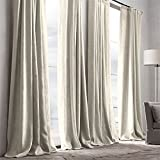 TWOPAGES® Premium Natural Cotton Linen Plastic Firm Adjustable Hook Natural Curtains Drapery ( 1 Panel ) In 50 W by 108 Inch L