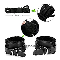 Under Bed Restraint kit Set Fetish Cuffs For Couples Love With Adjustable Fuzzy Handcuff Straps 10 Pcs (Black)