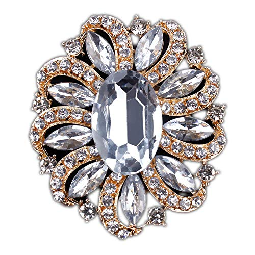 azhuang Classic Crystal Rhinestones and Large Oval Acrylic Flower Brooch Pins for Women in, White Gold