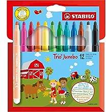 Rotulador STABILO Trio JUMBO - Estuche con 12 colores