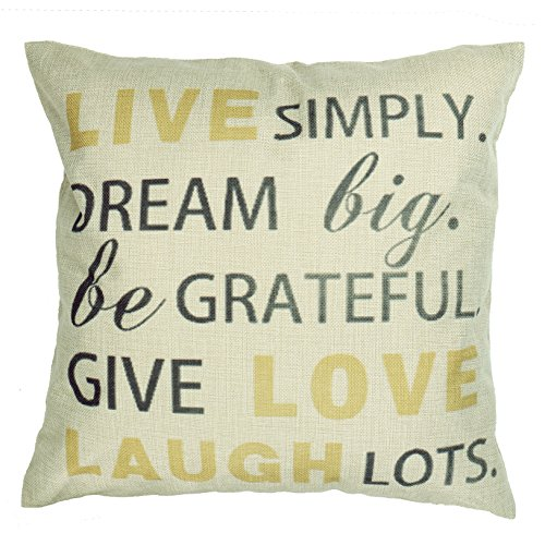 Luxbon Cotton Linen Yellow Live Love Laugh Throw Pillow Case Living Room Sofa Cushion Cover 18 x 18/45X45CM Insert Not Included
