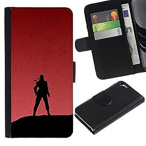 SHELLINA Foto Voltear Cuero Duro Funda Ranura Tarjeta TPU Carcasas Para Smartphone Apple Iphone 5 / 5S - soldado y cielo rojo
