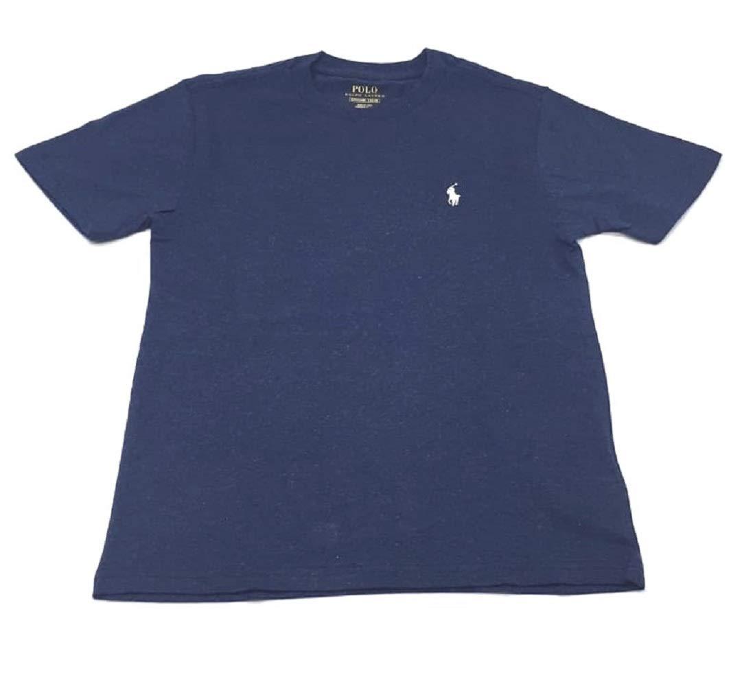 Polo Ralph Lauren Boys Crew Neck Pony Logo T-Shirt (Large, Navy Heather/White Pony)