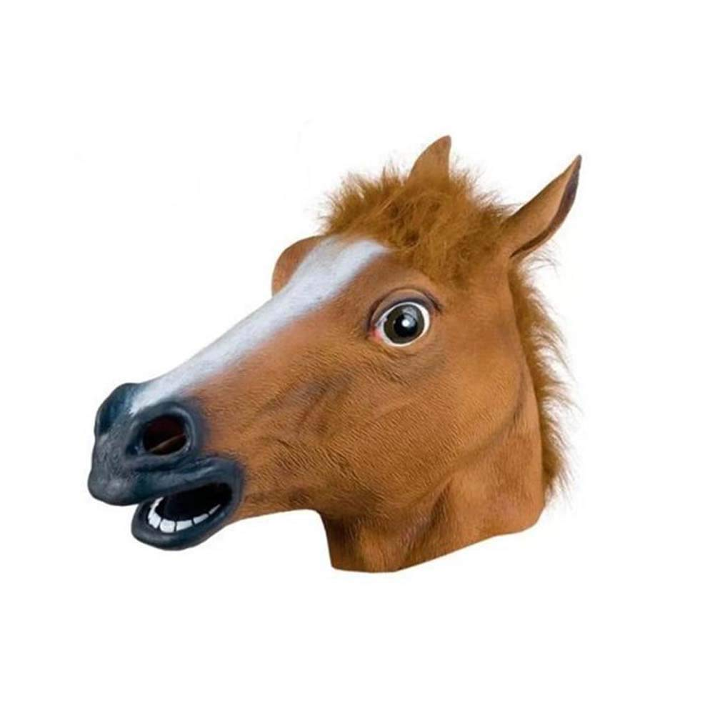SHENGZ Animal Head Mask Halloween Costume Masquerade Brown Horse Head Mask Animal Headgear Decorations Props,1PC