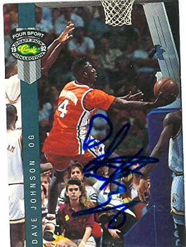 Dave Johnson autographed Basketball Card (Syracuse) 1992 Classic Four Sport #21 - Autographed Baseball Cards