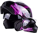 Women's Modular Full Face Motorcycle Helmet Street Bike Flip-Up Dual Visor DOT (Pink Large)