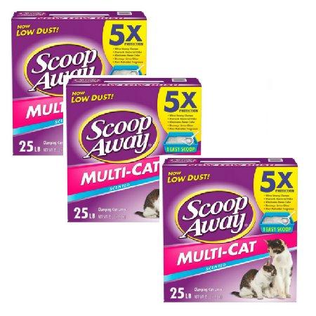 Scoop Away Multi-Cat, Scented Cat Litter, 25 Pound Carton (3 Pack)