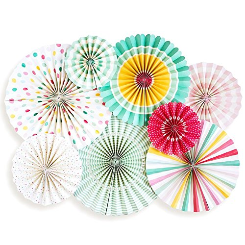 8 pcs Colorful Carnival Hanging Party Paper Fans Set - Mix Patterns - Festive Decorative Fans - Perfect for Birthdays, Kids Party, Fiestas, Weddings and Holiday Parties