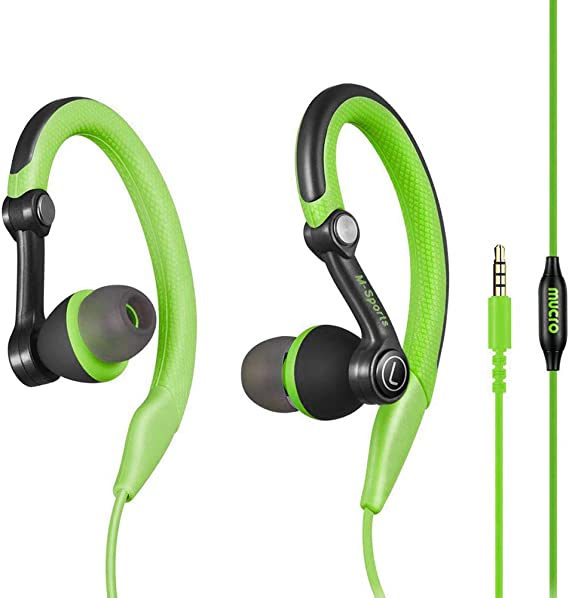 Mucro Sports Headphones Wired Headset Ear Hook Earphones Over Ear Earbuds with Microphone