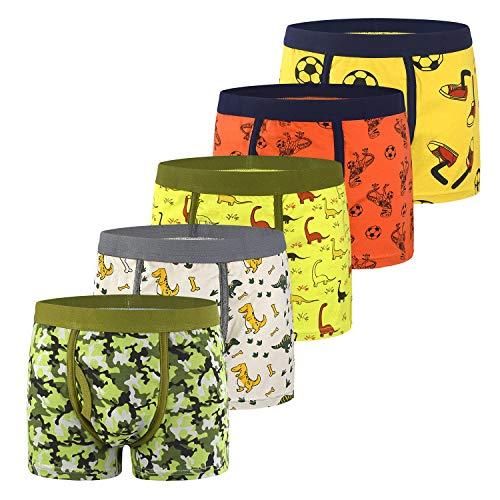 slaixiu Soft Cotton Kids Underwear Cartoon Boys Boxer Briefs 5-Pack (UW75-No.12-XXS)