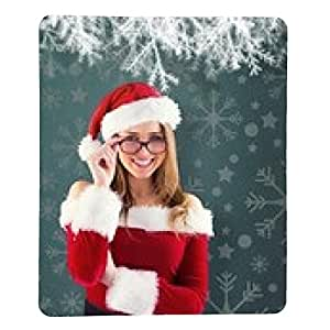 alfombrilla de ratón Imagen compuesta de Muchacha atractiva de Santa llevando gafas - rectangular - 23cm x 19 cm