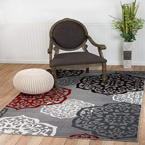 New Summit Elite S 53 Moroccan Madallions Gray White Black Red Modern Abstract Area Rug 4×5 Actual Size is 3 .8 x 5