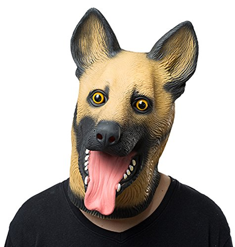 coser park Novelty Halloween Party Latex Animal Dog Head Mask German Shepherd]()