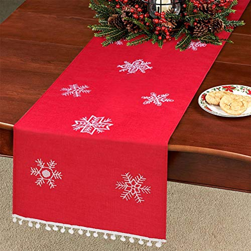 Aytai Snowflake Table Runner Embroidered Christmas Table Linen for Xmas Holiday Christmas Decorations, 16 x 72 Inch Red ()