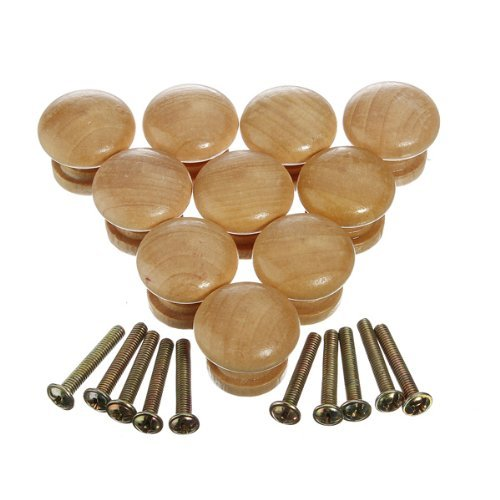 Wooden Furniture Knobs (Dealglad 10pcs 25mm Natural Wooden Cabinet Drawer Cupboard Wardrobe Door Knobs Pull Handle)