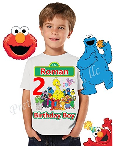 ay Shirt, FAMILY Birthday Shirt, Elmo Birthday Boy Shirt, Sesame Street Birthday Party Favor, Boy Birthday Shirt, Cookie Monster, Elmo, Big Bird, Abby, Sesame Street Shirt (Elmo Birthday Shirt)