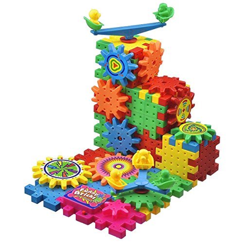 BCMRUN 81 PCS Gear Building Blocks Set Educational Toy Interlocking Learning Blocks Colorful Shapes Puzzle Funny Electric Bricks Motorized Spinning Gears for Children Kids Boys Girls by BCMRUN