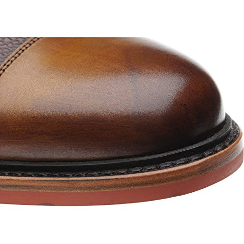 Herring aringa Redruth bicolore double Monk scarpe in vitello marrone chiaro e grano