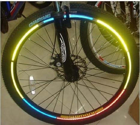 48 pcs reflector pegatinas reflectantes para bicicleta bolso bandolera carrito de dos bandas reflectantes autoadhesiva tira 6 colores diferentes: Amazon.es: Deportes y aire libre