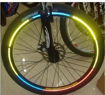 48 pcs reflector pegatinas reflectantes para bicicleta bolso bandolera carrito de dos bandas reflectantes autoadhesiva tira 6 colores diferentes: Amazon.es: ...