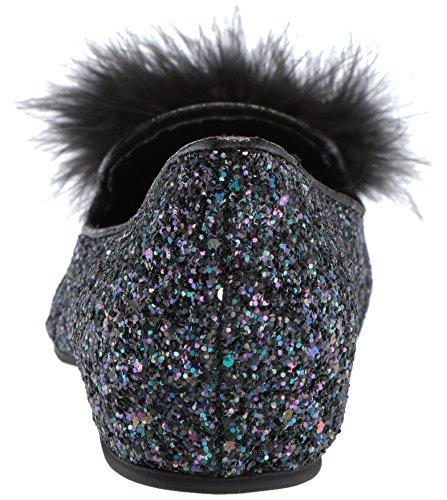 Kenneth Cole Reaction Women's Gen-Ie Bottle Glitter Feather Pom Ballet Flat Black/Multi v3ZZTToK