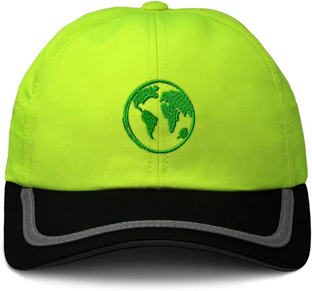 Custom Reflective Running Hat Green Globe Earth Monotone Embroidery One Size