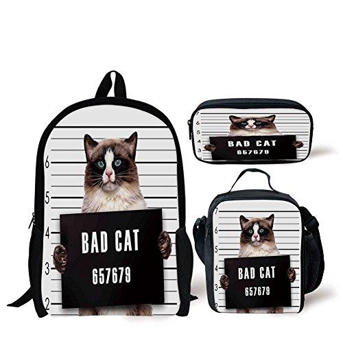 (School Lunch Pen,Cat Lover Decor,Bad Gang Cat in Jail Kitty Under Arrest Criminal Prisoner Hangover Artsy Work,Brown Black White,Bags)
