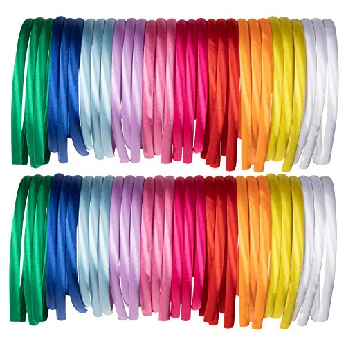 Satin Covered Headband - 60-Pack 10mm Head Band, Hard Headband, Fabric Headband, Hair Accessories for Girl Women Teen Favor, for DIY Craft Art, Accessory Making, 10 Colors, 4.5 x 5.25 x 0.39 Inches
