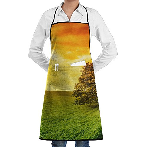 ZheuO Lonely Tree Against A Blue Sky At Sunset Grill Aprons Kitchen Chef Bib Cool For Men Women - Sun Plus Perks