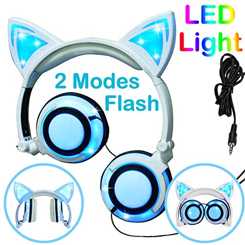 Cat Kids Headphones, Over/On Earphones with LED Glowing USB Rechargeable, Girls Boys Toddlers Wired Foldable Game Headset for Phone PC, Electronic Learning Toy School Supplies Prize for Classroom