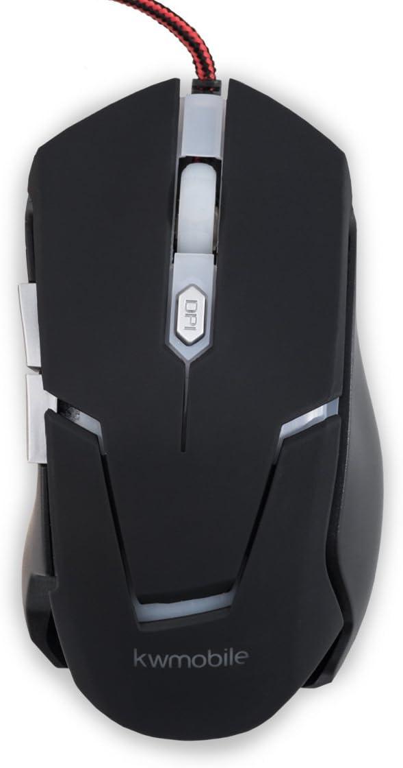 kwmobile Mouse da Gioco con 6 Pulsanti - Gaming Mouse con 2400 DPI e Retro Illuminato - USB Wired Mouse Ottico per Gamer con Cavo 1,5m