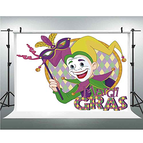 Background Photography Backdrop Studio Photo Props,Mardi Gras,10x10ft,Cartoon Design of Mardi Gras Jester Smiling and Holding a Mask Harlequin Figure Decorative