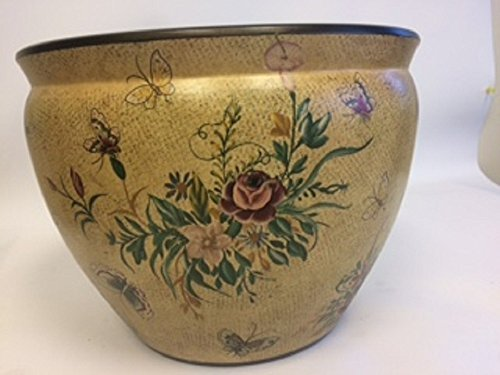 """Cypress Home 12"""" Dx9 H Beautiful Hand Painted Flowers with Butterflies Porcelain Fish Bowl/Flower Planter/Decor"""