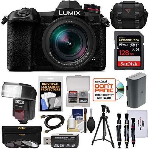 Panasonic Lumix DC-G9 4K Wi-Fi Digital Camera & 12-60mm f/2.8-4.0 Lens with 128GB Card + Battery + Case + Flash + Tripod + Filters Kit