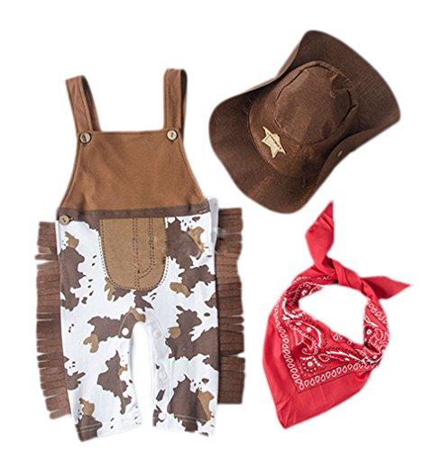 [Soojun Baby Boy Cowboy 3Pcs Jumpsuit Overalls Rompers, 9-12 M] (Halloween Costume Wearing Overalls)
