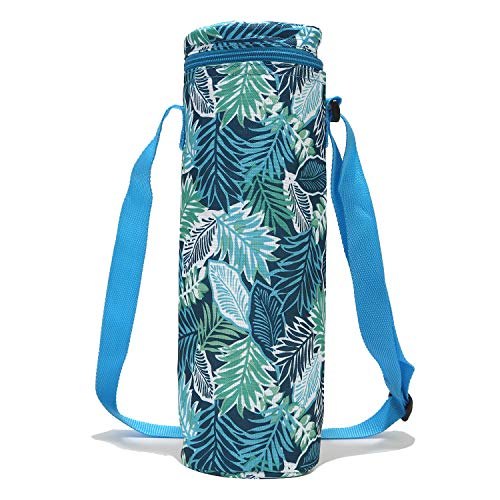 Tropical Leaves Wine Chiller Wine Travel Bag Wine Cooler Bag Reusable Single Bottle Insulated Wine Totes and Carriers Sleeve Protector