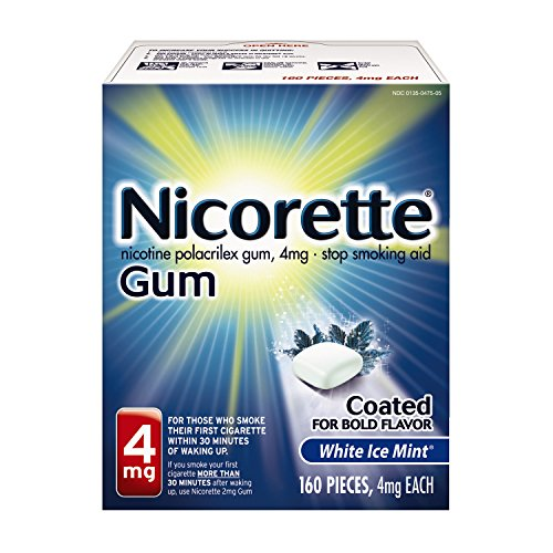 (Nicorette Nicotine Gum to Quit Smoking, 4 mg, White Ice Mint Flavored Stop Smoking Aid, 160 Count)