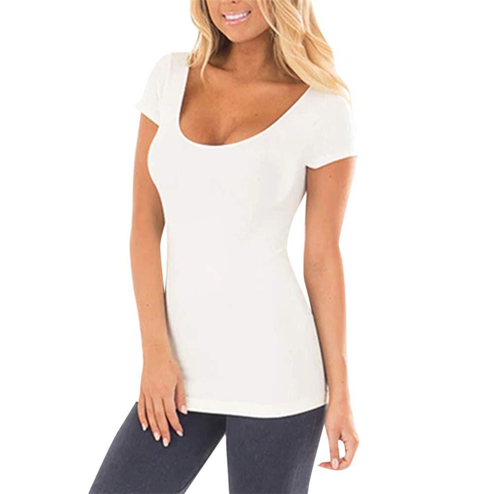 : Aniywn Women Slim Fit Solid Color Short Sleeve