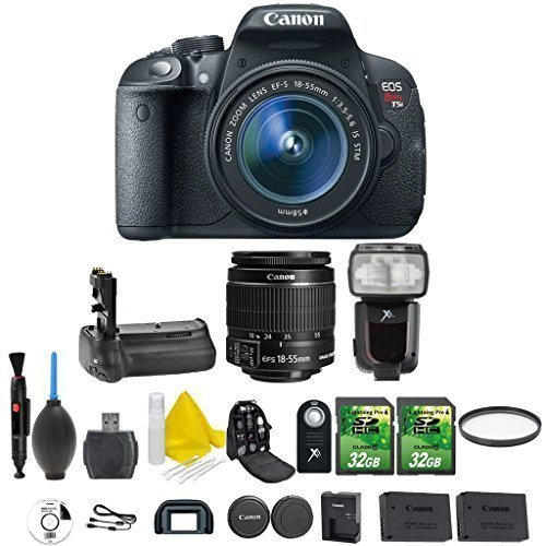Canon EOS Rebel T5i 18.0 MP CMOS Digital SLR Camera and DIGIC 4 Imaging + Canon EF-S 18-55mm IS STM + Dedicated Flash + Multi Battery Power Grip + 2pc 32GB Memory Cards + Camera Backpack (Canon 600mm Ii Lens compare prices)