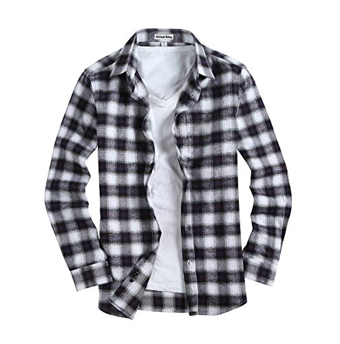 Men's Casual Button Down Shirts Long Sleeve Regular Fit Plaid Flannel Shirt(Small,Purple White) -