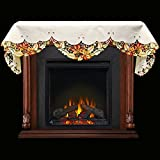 Embroidered Fall Leaf Fireplace Mantle Scarf 19″ x 90″