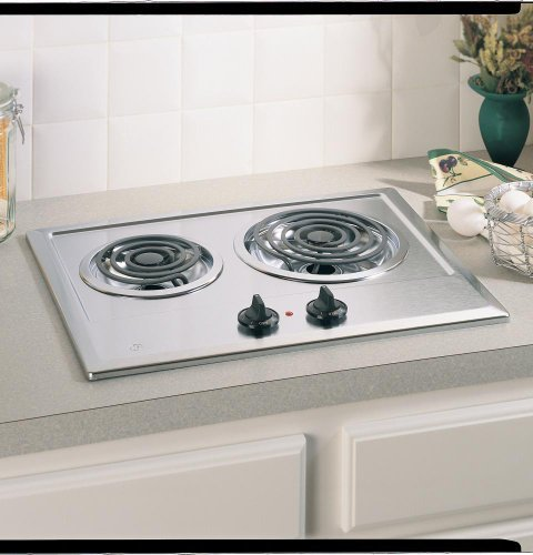 Ge JP201CBSS 21 inch Built-In Electric Cooktop, 2-Burner in Stainless Steel