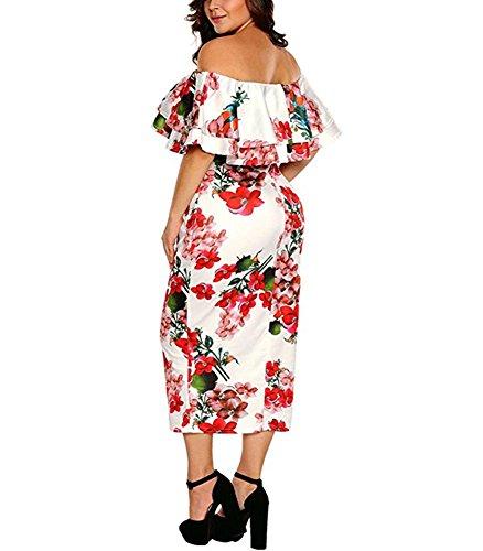 Benegreat Des Femmes En Couches Hérissent Au Large Partie Moulante Épaule Équipée Floral Robe Midi