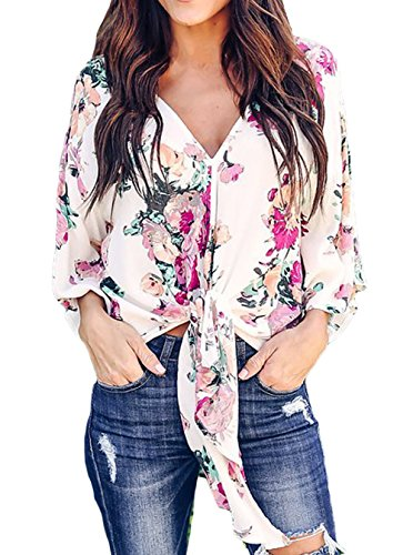 V-neck Kimono Top - Silindashop Women's Floral Print Chiffon Shirt V Neck Kimono Sleeve Tie Front Blouse Top L Multicolour