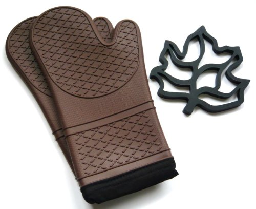 UPC 820103990134, Silicone Oven Mitt and Trivet Set - Chocolate Brown - Heat and Cold Resistant, Water and Steam Proof. Flexible Cloth Lined Gloves with Long Cuffs. Contour Fit. Excellent Grip. Best Oven Mitts for Kitchen Cooking or BBQ Grill. Includes 1 Pair of Baking Mitts and 1 Pot Holder (Brown)