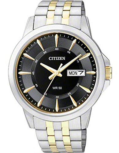 Citizen BF2018-52E Quartz Mens Day/Date Watch - Black Dial - Two-Tone Case and ()