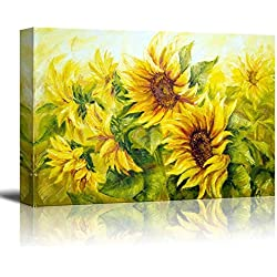 """wall26 Canvas Prints Wall Art - Sunflowers in Oil Painting Style 