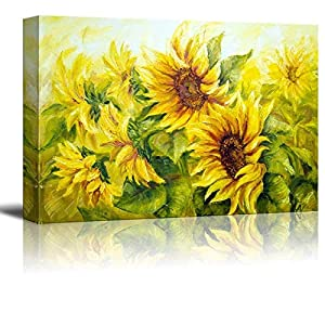 wall26 Canvas Prints Wall Art – Sunflowers in Oil Painting Style | Modern Wall Decor/Home Decoration Stretched Gallery Canvas Wrap Giclee Print & Ready to Hang – 24″ x 36″