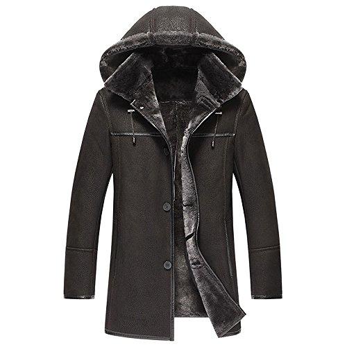 Men's Shearling Coat Removable Hooded Mens Genuine Leather Jacket (L, (Hooded Black Shearling Coat)