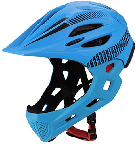 Children's Cycling Helmet, Detachable Full Face Chin Protection Balance Bicycle Safety Helmet with Rear Light…